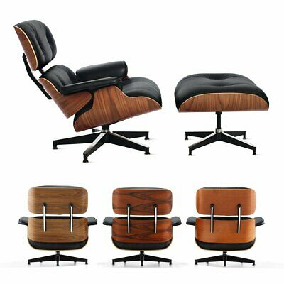 Classic Eames Lounge Chair & Ottoman 100% Real Leather Palisander Walnut Sandal