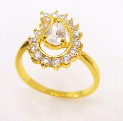 Women 24K Yellow Gold Plated Cubic Zirconia CZ Engagement Wedding Ring K M N O