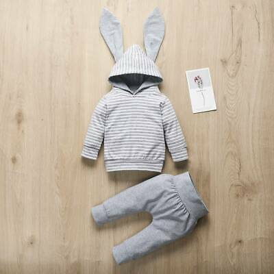 UK Toddler Newborn Baby Boy Girl Outfits Bunny Ear Hooded Tops Pants Clothes Set