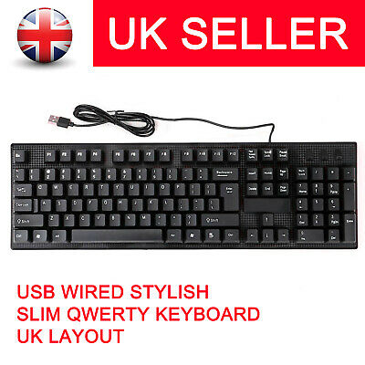 Usb Wired Stylish Qwerty Keyboard Uk Layout For Computer Laptop Pc Desktop