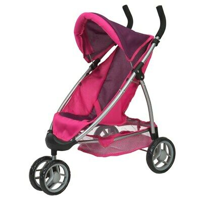 Girls Toy Doll Buggy Jogger Stroller Baby Dolls Pushchair Pram Foldable Gift NEW