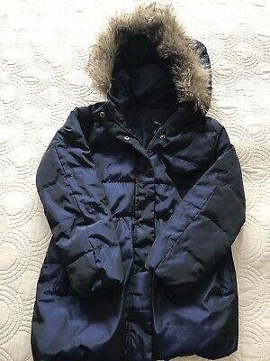 Girls Padded Puffa Jacket Gap Age 12 Navy Blue Fur Trim New without Tags