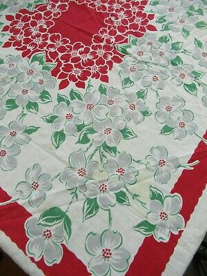 Vintage Magnolia Flower Cotton Tablecloth Floral Square Cardtable Cover