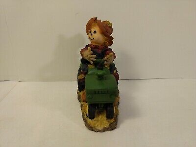 Jubilee Giftware Scarecrow Driving Green Tractor Resin Halloween Decoration h280