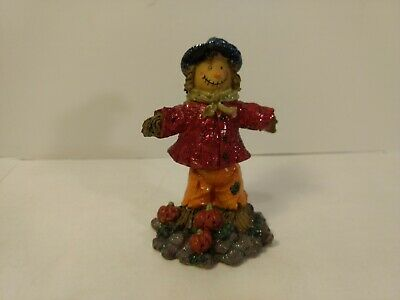 Red Glitter Scarecrow Bobble Top Resin Fall Harvest Halloween Decoration h284