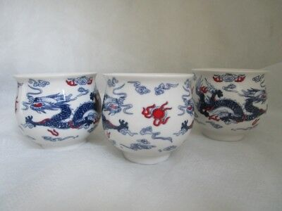 Lot of 3 Porcelain CHINESE Export TEA Sake CUPS DUELING DRAGON w FLAMING PEARL!