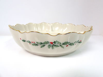 Lenox Holiday Dimension Divided Serving Bowl Holly Berries 24K Gold Trim Nwt