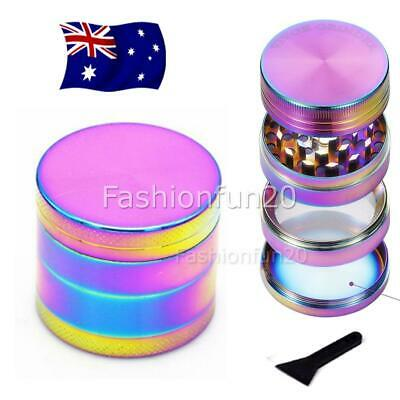 Metal Hand Herb GRINDER 4 Layers Rainbow Muller Lid Pot Roll NEW