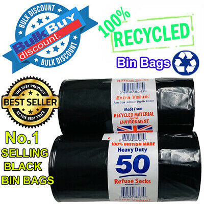 Heavy Duty Black Refuse Sacks Strong Thick Rubbish Bags Bin Liners X 2 Rolls