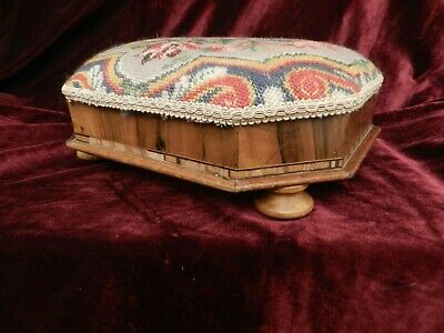 Vintage Small Foot Stool With Floral Embroidered Tapestry a/f