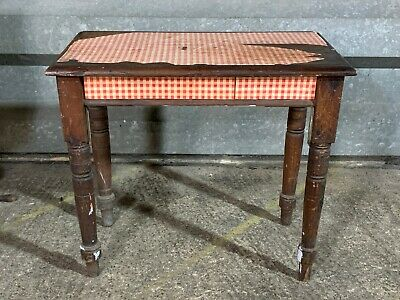 Charming Victorian pitch pine writing table desk turned legs side kitchen hall