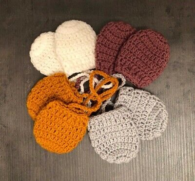 Handmade Crochet Knitted Baby Mittens with string