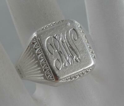 Vintage Art Deco Sterling Silver Signet Ring by Esemco Size 9 1/4 10K F1071