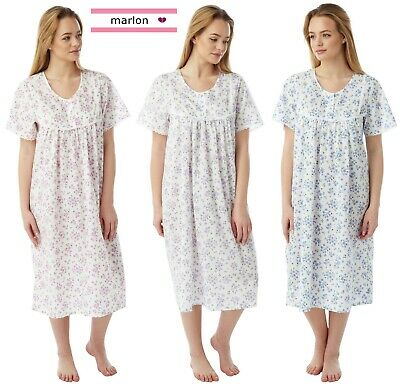 Ladies Short Sleeve Poly Cotton Calf length Nightdress By Marlon size UK 10-30