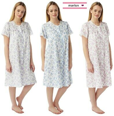 Ladies Short Sleeve Poly Cotton Button Front Nightdress By Marlon size UK 10-30