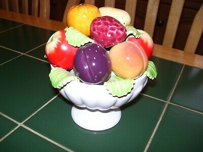 Very Pretty Bowl Of Ceramic Fruit In Very Good Condition