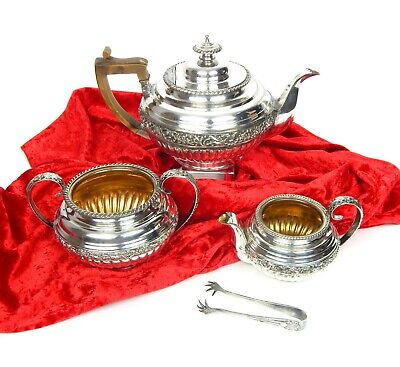 4 pcs Antique Victorian Silver Plated Ornate Tea Coffee Set w Guilded Interior