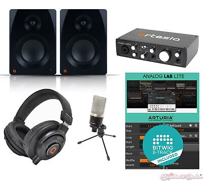 Artesia Home Recording Bundle Studio USB Audio Interface Mic Speakers Complete
