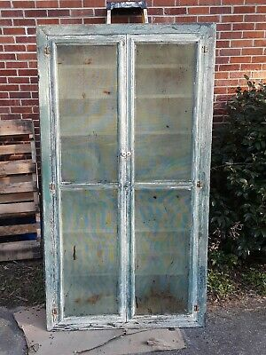 Antique Primitive Pie Safe Cabinet Chippy Green White Paint New England Aafa