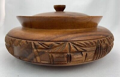 Vintage Teak Wood Bowl Hand Carved with Lid Estate Find