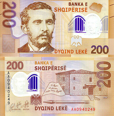 ALBANIA 200 Leke Banknote World Polymer Money UNC Currency Pick p-NEW 2019