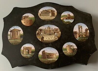 Beautiful Large Micro Mosaic Paperweight with NINE Scenes Grand Tour