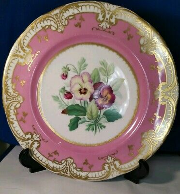 Antique 19th Century French Sevres Plate Pancy Pink&Gold w. Flowers Hand Painted