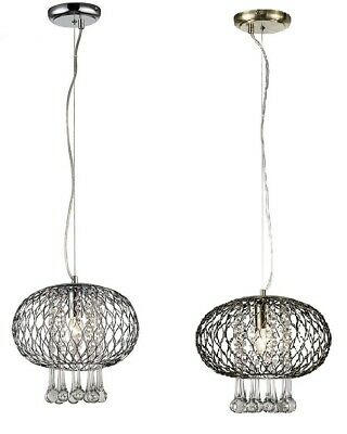 Hanging Pendant Crystal Light Large Antique Brass Chrome Oval Beads Droplet