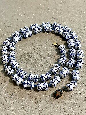 ANTIQUE CHINESE PORCELAIN BEADS NECKLACE WHITE/BLUE. Clasp With Color