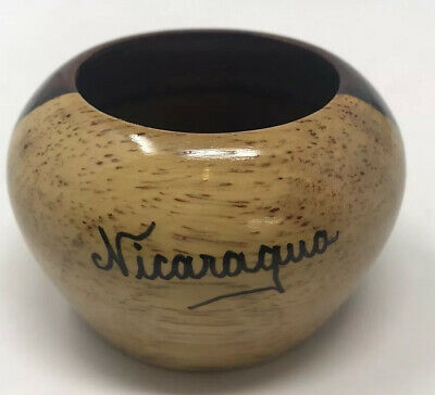 """VINTAGE HAND CRAFTED Small Hard WOOD BOWL NICARAGUA 3"""" X 2"""""""