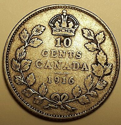 1916 Canada 10 Cent 0.925 Silver Dime GEORGE V #281