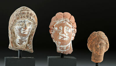 Lot of 3 Hellenistic Terracotta Female Votive Heads