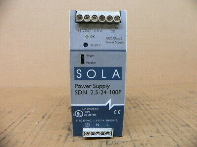 Sola Power Supply SDN 2.5-24-100P input 115-230 VAC output 24 VDC