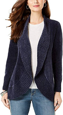 Style & Co Women's Shawl-Collar Open-Front Cardigan, Industrial Blue, Large