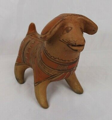 Vintage Pre-Columbian Style Colima Mexican Pottery Dog Figural Sculpture Statue
