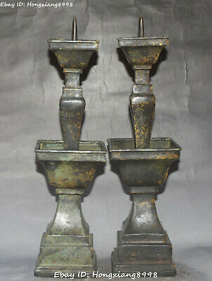 Ancient Asian Chinese Old Bronze Handmade Cats Plate Statue Oil Lamp Candlestick