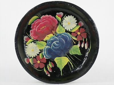 Vintage Hand Carved TOLE PAINTED Wood BOWL Black Bright Florals FOLK ART