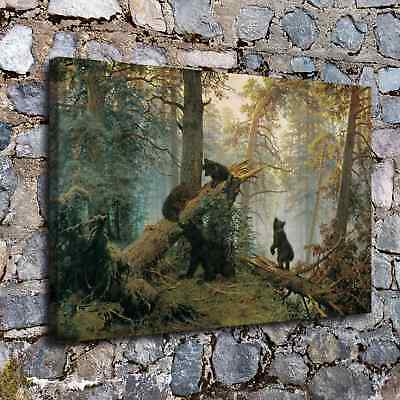 "12""x18"" Bear forest Picture HD Canvas prints Painting Home Decor Wall art Poster"