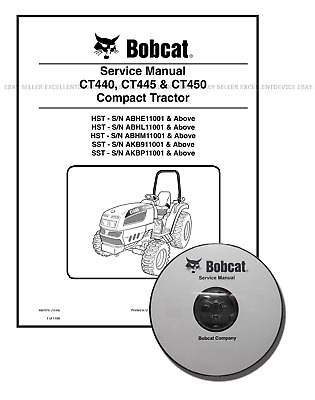 Bobcat CT440 CT445 CT450 Compact Tractor Workshop Service Manual CD + DL 6987079
