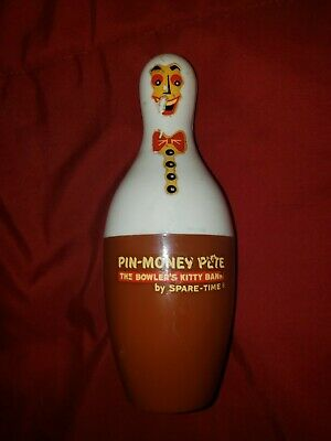 Vintage Pin-Money Pete Plastic Bowling Pin Piggy Bank Spare-Time