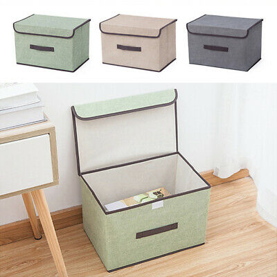 Foldable Canvas Storage Box Fabric Clothes Basket With Lid Folding Large & Small
