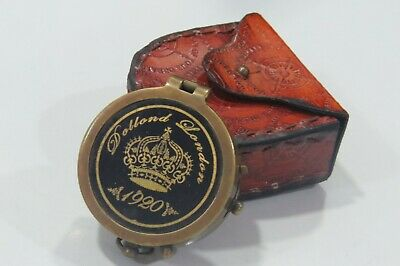 Marine Donald London Antique Brass Compass With Case Nautical Collectible Gift