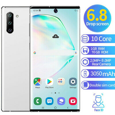 Note 10 6.8'' Unlocked Smart Phone 1+16G Android 9.1 HD Dual SIM Mobile 3G Phone