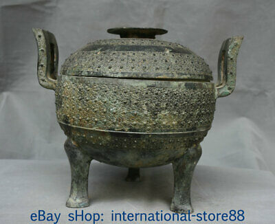 12 inch Old China Bronze Ware Palace Dynasty Pattern Wine Drinking Vessel