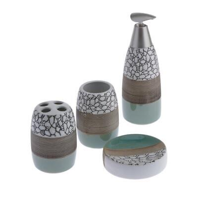 Ceramic Soap Dish Soap Dispenser Toothbrush Holder Bath Ensemble Decor Set