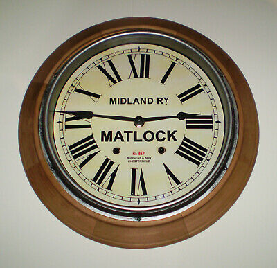 Midland Railway MR Victorian Style Wooden Clock, Matlock Station.