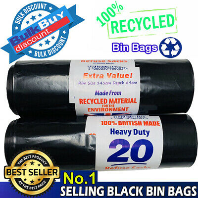 Heavy Duty Black Refuse Strong Sacks Thick Rubbish Bags Bin Liners x 2 Rolls