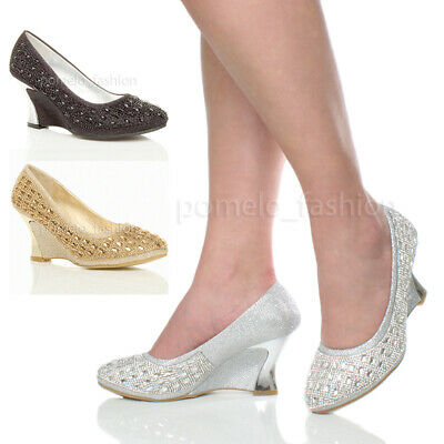 Womens Ladies Low Heel Wedge Evening Wedding Bridal Prom Court Shoes Pumps Size
