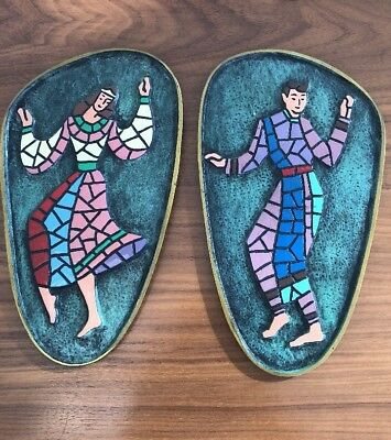 """Vintage Mid-century Dancers Cast Brass Mosaic Wall Plaques Mid-eastern 9 1/4"""""""