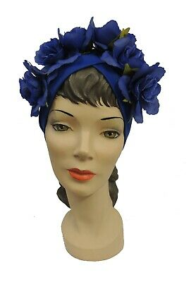 Vintage 1940s style Blue Flower Halo Turban
